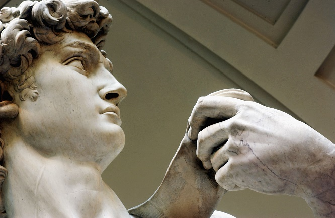 FLORENCE, ITALY - MAY 24: Restoration work on Michelangelo's masterpiece David is completed, May 24, 2004 at the Galleria dell'Accademia in Florence. The work has taken a painstaking two years to complete with the statue going on show to the public tomorrow . (Photo by Franco Origlia/Getty Images)