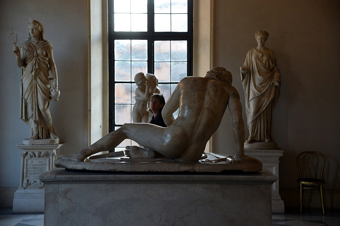 A visitor walks past marble statues on display at Rome's Capitoline Museum (Musei Capitolini) on Capitol Hill on January 26, 2016. Italy's desire to court visiting Iranian President Hassan Rouhani extended to covering up classical nude sculptures in the Capitoline Museum, where he met Prime Minister Matteo Renzi, it emerged on Tuesday. / AFP / FILIPPO MONTEFORTE (Photo credit should read FILIPPO MONTEFORTE/AFP/Getty Images)