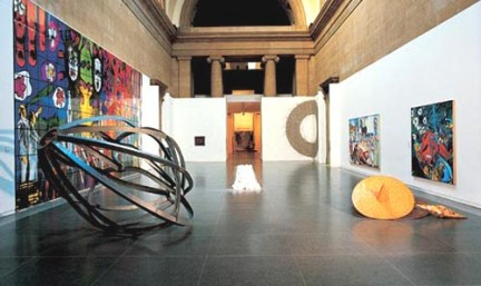 Turner Prize Exhibition, 1984, featuring work by (left to right) Gilbert & George, Richard Deacon, Richard Long and Malcolm Morley