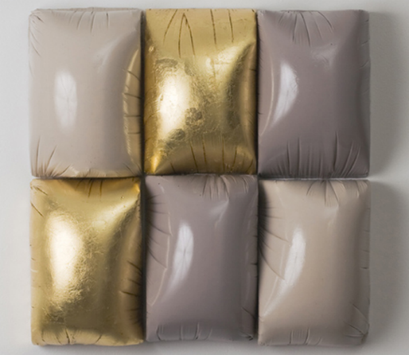Susan Dwyer Untitled (Six Bulges), 2008 plaster, acrylic paint, polyurethane, gold leaf 14 x 14 x 4 inches