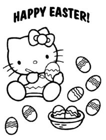 disegni da colorare hello kitty pasqua