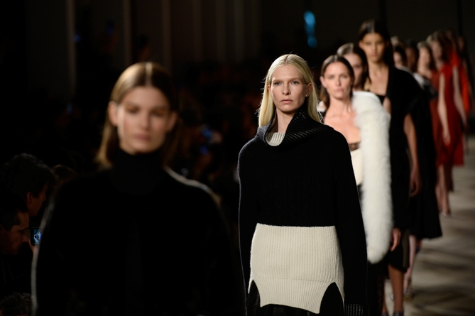 A model walks the runway at the Prabal Gurung fashion show during Mercedes-Benz Fashion Week Fall 2015 at The IAC Building on February 15, 2015 in New York City.