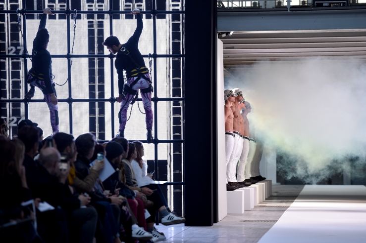 A model walks the runway during the Dirk Bikkembergs as a part of Milan Menswear Fashion Week Fall Winter 2015/2016 on January 20, 2015 in Milan, Italy.