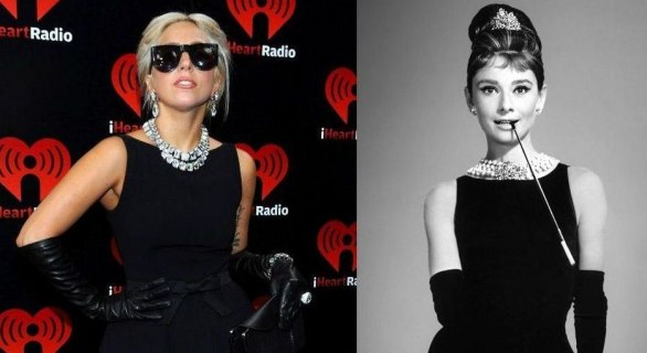 Lady Gaga in Moschino come Audrey Hepburn