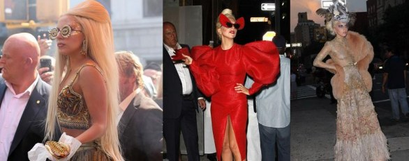Lady Gaga mangia un hot dog a New York vestita di Haute Couture