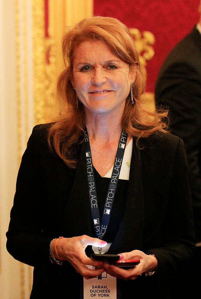 LONDON, ENGLAND - NOVEMBER 2: Sarah Ferguson, Duchess of York speaks to guests during the Pitch@Palace entrepreneurial event at St James's Palace on November 2, 2015 in London, United Kingdom. (Photo by Jonathan Brady - WPA Pool/Getty Images)