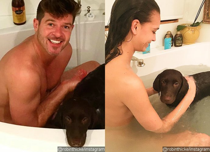 robin thicke naked posing