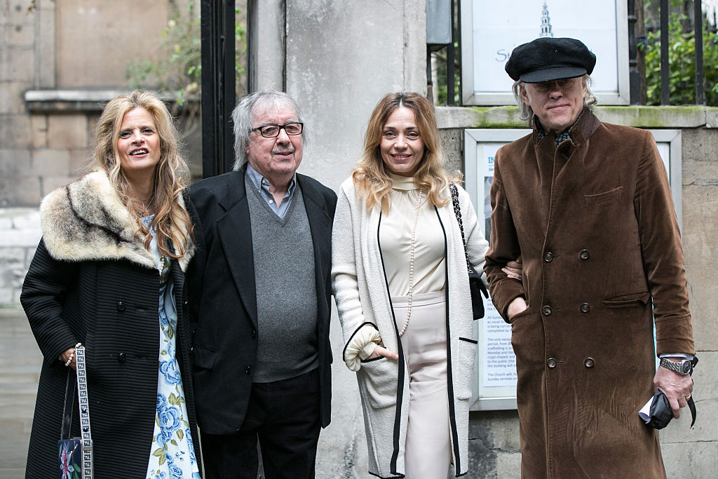 LONDON, ENGLAND - MARCH 05:  Bill Wyman, Suzanne Wyman, Jeanne Marine and Sir Bob Geldof arrive for the wedding of Jerry Hall and Rupert Murdoch at St Brides Church on March 5, 2016 in London, England.  (Photo by John Phillips/Getty Images)