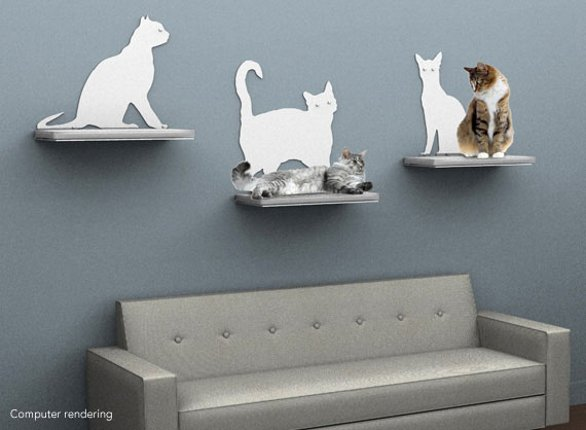 Mensole cat silhouette di the refined feline for Mensole per gatti ikea