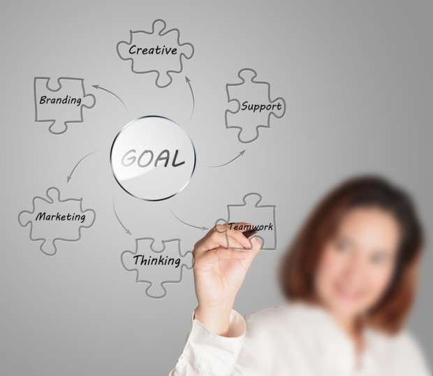 businesswoman draws business goal diagram