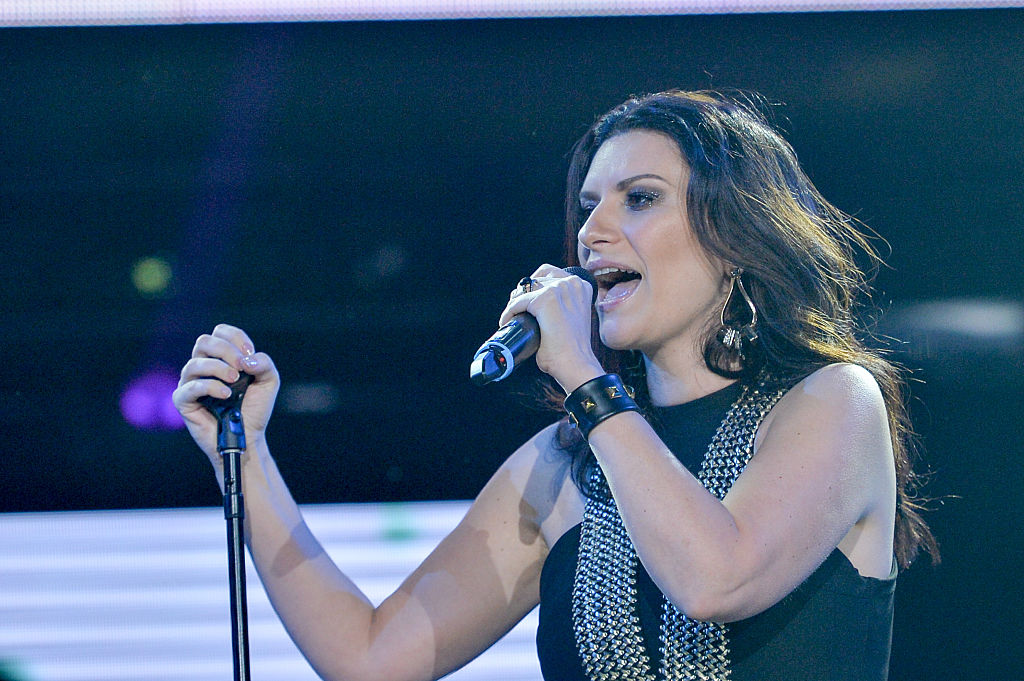 MIAMI, FL - DECEMBER 05: Laura Pausini on stage at Grand Slam Party Latino at Marlins Park on December 5, 2015 in Miami, Florida. (Photo by Rodrigo Varela/Getty Images)