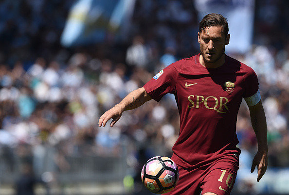 Roma's forward from Italy Francesco Totti controls the ball during the Italian Serie A football match Roma vs Lazio at the Olympic Stadium in Rome on April 30, 2017.  / AFP PHOTO / FILIPPO MONTEFORTE        (Photo credit should read FILIPPO MONTEFORTE/AFP/Getty Images)